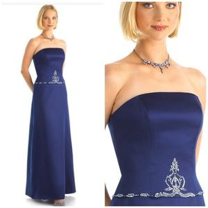 ALEXIA Royal Blue strapless jeweled  gown size 18